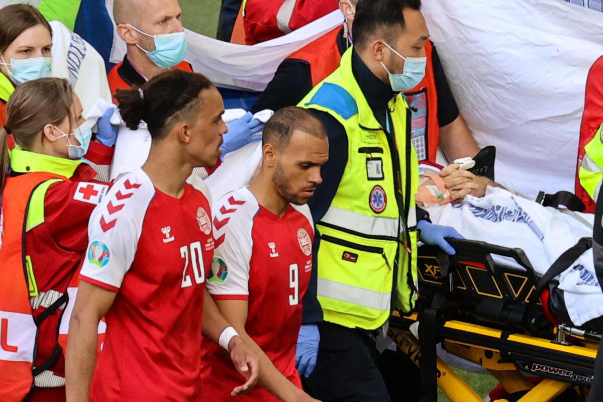 توقيف مباراة الدنمارك وفنلندا بسبب سقوط مفزع للاعب إيريكسن